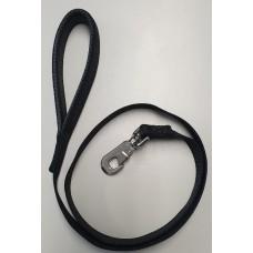 Black Padded Handle Deluxe Soft Nylon Lead 25mm x 120cm