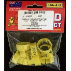 Plastic Poultry Leg Rings - Flat Band - 21mm
