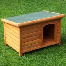 Timber Dog Kennel Flat Roof Large
