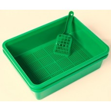 Litter Tray with Sieve - Green Colour